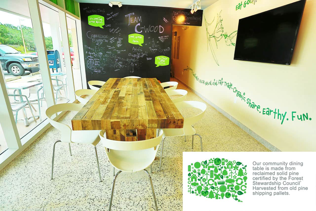 EVOS community table - magnetic chalk board