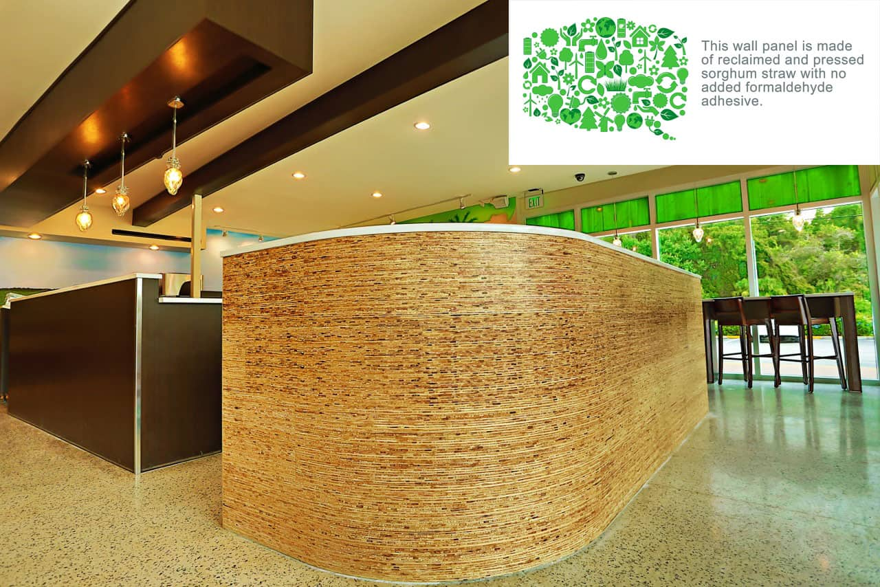 EVOS Sustainable Green Design | kirei recycled sorgham straw wood wall