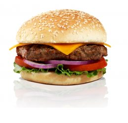EVOS healthy burger. Naturally raised beef. Organic bun.